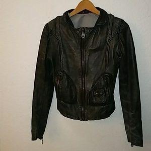 Doma Grayish Black Leather Jacket Size Small